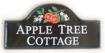 Apples & Blossom - painted by Gerry on a Large Mews Plaque - Font is Times Roman in Capital letters with larger first capital letter on each word