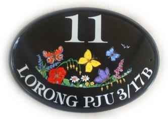 Butterflies and wild flowers - Painted for a customer in Malaysia on a New World classic oval base plaque. Font is Tiffany