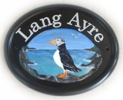 Puffin Sign - Painted by Jean on a large classic oval plaque from her own design