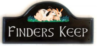 Rabbits Sign - The customer asked for a pictorial of her two rabbits painted on a Large Mews plaque.  The font is called Celtic Hand. Artist - Gerry