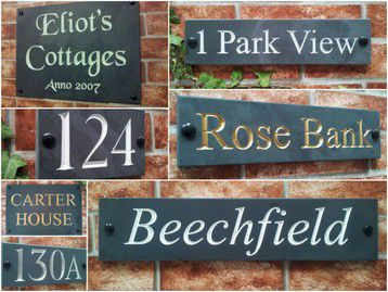 Engraved slate signs