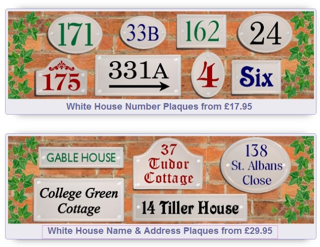 White Ceramic Style House Signs with coloured lettering